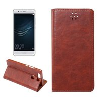 automatic magnetic card - HUAWEI P9 Plus Crazy Horse Lines TPU Phone Cases Automatically Pull Leather Magnetic Automatic With Support Card SCJT722_09