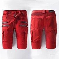 Wholesale 2016 brand jeans for men balmain mens shorts slim red jeans elastic locomotive size