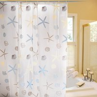 Wholesale Brand new Home Garden PEVA material seastar and shell pattern durable waterproof bathroom shower curtains with hooks