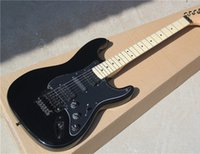 Wholesale Black Electric Guitar with Black Body and Maple Fretboard and Floyd Rose and Can be Changed