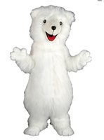 bear cartoon pictures - white Polar Bear mascot costume Plush Cartoon Character Costume Custom Products customized Halloween real picture