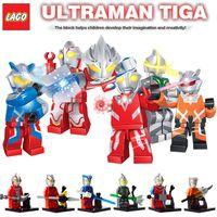 ace toys - 6pcs Japan Super Heroes Ultraman Zero Ace Gala Tiga Nexus minifigures building blocks super mini figures kids toys bricks