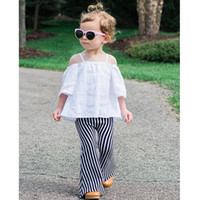 Wholesale Kids Pants for Girls New Children s Clothes Fashion Bell Bell Bottoms Stripe Girls Tassels Long Pants MK