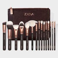 basic makeup kit - High Quality Makeup Brush Sets of Basic Formula Blush Eyeliner Powder Face Brush Makeup Brush Brown Leather