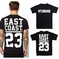al por mayor brooklyn camiseta xl-EAST COAST 23 Print Man T-Shirt Hombre de la marca de Hip Hop de la marca de fábrica de los hombres de la aptitud de Brooklyn camisetas Hombre de la camisa de la manga AMD210