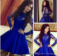 Wholesale 2016 Stylish Royal Blue Graduation Dresses Illusion Sleeves Vintage Short Prom Dresses for Teens Formal Dresses Gowns Homecoming Dresses