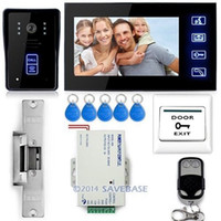 Wholesale 7 quot Video Door Phone Doorbell Intercom IR Camera Monitor Electric Strike Lock RFID Key