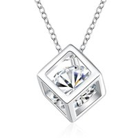 Wholesale 925 Sterling Silver Items Crystal Jewelry Square Cube Diamond Pendant Necklaces Wedding Vintage Woman Fashion