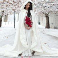 Wholesale 2016 Winter Wedding Coat Princess Bridal Cape Ivory Satin with Fur Trim Wedding Cloak Handmade Bride Cape