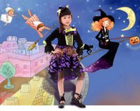 Wholesale Cosplay Halloween children s clothing purple witch woman dress Girl Costume anime witch outfit
