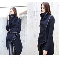 Wholesale trench coat women jacket suit dress winter cape clothes irregular black temperament overcoat windbreaker long sleeve loose ladies zipper hot
