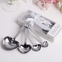 Wholesale sets Love Wedding favors of Simply Elegant Heart Shaped Stainless Steel measuring spoon in White Gift Box