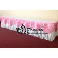Wholesale White And Pink Color Ice Silk Table Skirt Skirting For Wedding Decoration