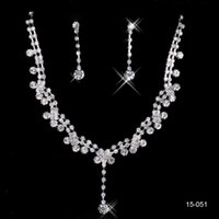 american steel stock - 2016 New Silver Plated Crystal Rhinestone Shinning In Stock Hot Bridal Necklace Earrings Jewelry Sets For Evening Prom Party