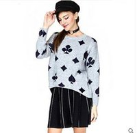 american poker - 2016 Autumn dress new The European and American fashion poker short after long loose sweaters before printing