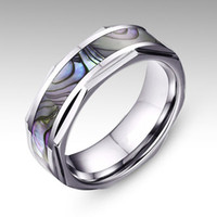 abalone shell inlay - Solitaire Ring New mm Mens Tungsten Ring With Abalone Shell Inlay Wedding Ring AA11
