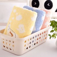 baby washcloths free shipping - New Children Baby Untwisted Yarn Cotton embroidered Soft Towel Cartoon Elephant Washcloth Brand New Good Quality