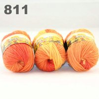 Wholesale colorful hand knitted wool line segment dyed coarse lines fancy knitting hats scarves thick line Yellow Orange