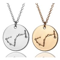 astrology horoscope - Zodiac Necklace Signs Constellation Necklace Horoscope Astrology Disc Pendant Necklaces For Women Men Birthday Gift