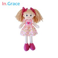 baby doll dress pattern - In Grace brand cute big eyes dolls for girls with flower pattern dress and red headwear beautiful soft dolls for baby girls pink