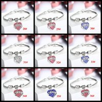best friends gifts - 48 Styles Crystal Letter family member best friend hope sister daughter bracelets Sweet love Heart Charm Bracelet Bangle For Women girls