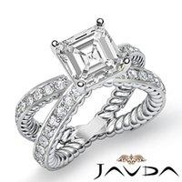 antique asscher cut - Asscher Cut Diamond Antique Pave Engagement Ring GIA G SI1 k White Gold ct