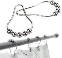 Compra Anillos roller-1200 PCS / Lot vende al por mayor la decoración de plata del cuarto de baño de los anillos de Glide de los ganchos de Rod de la cortina de ducha de Rollerball del baño de las ventas al por mayor (paquete con el bolso al por menor del PVC)