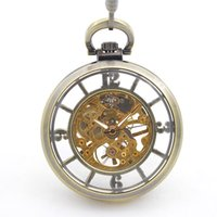 acrylic makers - Bronze tone Skeleton Mechanical pocket watches for sale with chain Hand Wind up modern pocket watches makers online shopping