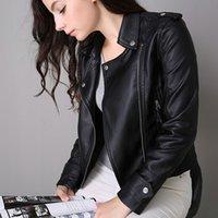 Precio de Leather jackets-2016 Primavera Y Otoño Nueva PU Correa De Cuero De Motocicleta Sra. Corea Slim Jacket Para Cool Girl En Mangas Largas Con Bolsillos