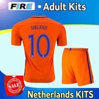 adult soccer uniforms sets - 2016 Netherlands adult soccer jerseys kits Uniforms Maillot de foot MEMPHIS ROBBEN SNEIJDER v PERSIE home away sets football shirts