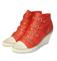 ash genial - Women s Ash Genial Small Wedge Sneakers Orange Red Genuine Leather ASH Trainers Sheepskin Fashion Tide ASH High top Wedge Sneaker Shoe