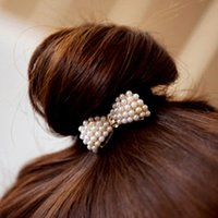Wholesale hair jewelry New Fashion Lady All match Hair Rubber Bands Small Imitation Pearls Rhinestone Bowknot Hair Accessories For Women SHR013