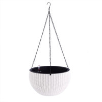 Wholesale Creative Fashion Elegant Weaving DesignElegant Self Watering Hanging Flower Plant Pot Chain Basket Planter Holder with Water level gauge