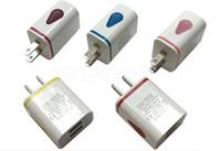 ac usb light - Light Up LED Dual USB Ports Home Adapter AC Us Eu Plug Wall Charger For Iphone Samsung Mobile DHL CAB127