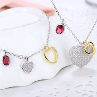 asian countries - heart pendants S925 bracelet and necklace silver jewelry set woman fashion necklace pendants western countries popular pulsera