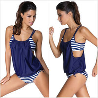 Wholesale Plus Size Women Sexy Stripes Bikini Swimwear Tankini Beach Wear