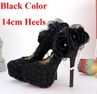 beautiful evening shoes - Black lace applique evening shoes beautiful side party high heeled shoes flower ball pearl bridesmaid shoes fashion black wedding shoes