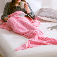 Wholesale Knitted Mermaid Blanket for Adults and Teens Crochet Snuggle Fleece Blanket Sleeping Bag with Knit Pattern Sofa Blanket