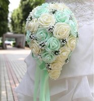 april beaded - Hot Sale Cheap Rose Wedding Bouquet Handmade Flowers Top Quality Artificial Rose Beaded Brooch Bride Holding Flowers Bridal Bouquets