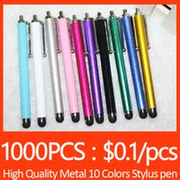 Wholesale Metal Stylus Pen Capactive for Iphone Plus S7 Edge S7 S6 Ipad Samsung HTC Pad Mobile Phone Colors Body Black Rubber Written DHL Free