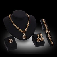 arty ring - Wedding Gifts Statement Diamond Round Pendant Necklace Earrings Bracelet Bangle Ring Set African beads jewelry Set For Women arty