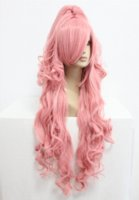 Wholesale 90cm Long VOCALOID Megurine Luka Pink Cosplay Costume Anime Wig one ponytail cosplay anime costumes cosplay costumes