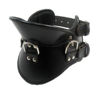 posture collar - Padded PU Leather Premium Bondage Posture Collar Neck Brace Training Device Black for Male or Female
