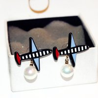 aircraft studs - Pearl Jewelry Zinc Alloy Aircraft Women s Gold Plated Plane Earrings Luxury Girl s Gift Bijoux E91546