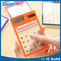 Wholesale Ultra Slim Solar Touch Screen LCD Digit Electronic Transparent Calculator Multi color Solar Calculator Counter