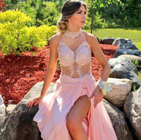 beaded chiffon fabric - Blush Prom Dresses Crystal Beading Formal Graduation Dress Ball Gowns With High Neck Sexy Backless Leg Splits Chiffon Fabric