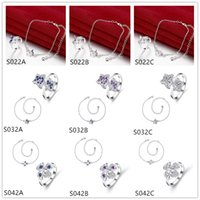 Wholesale 925 silver Anklet Ring jewelry set GTSS1 butterfly leaves women s gemstone sterling silver jewelry sets sets mixed style