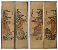 ancient chinese calligraphy - Old Chinese painting scroll Tiger Jiang Tingxi tigers Antique paintings four tiger Archaize do old ancient paintings