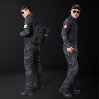 Wholesale Military uniform multicam army combat shirt uniform tactical pants with knee pads camouflage hunting clothes ghillie suit