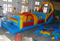 Wholesale New arrival mm PVC Tarpaulin giant inflatable obstacle course outdoor bouncy obsacle course with slide combo